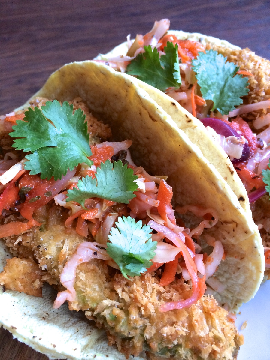 11.109 – Beer-Battered Fried Avocado Tacos with Sriracha Curtido ...